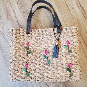 Esprit vintage straw purse tote handbag tulip